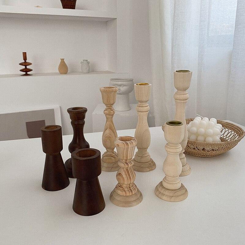 Wooden Pillar Candle Holder Vintage