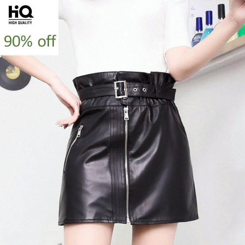 Italian Punk Style Women Sheepskin Genuine Leather Skirt Zipper Belted High Waist A Line Faldas Mujer Slim Fit Party Mini Skirts