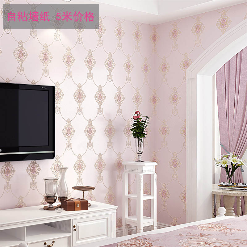Simple European Faux Embroidered Nonwoven Fabric Coining Self Adhesive Wallpaper Bedroom Living Room Background Self-adhesive Ba