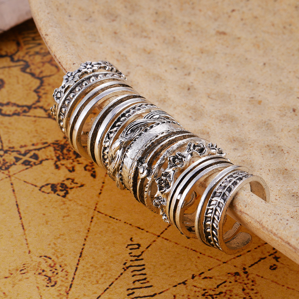 12pcs/set Bohemian Rings Crystal Rhinestone Drops Geometry Middle Ages Ring Set Charm Ring Set 2021 Boho Fashion Jewelry
