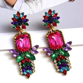 -Quality Metal Colorful Crystal Long Drop Earrings  1