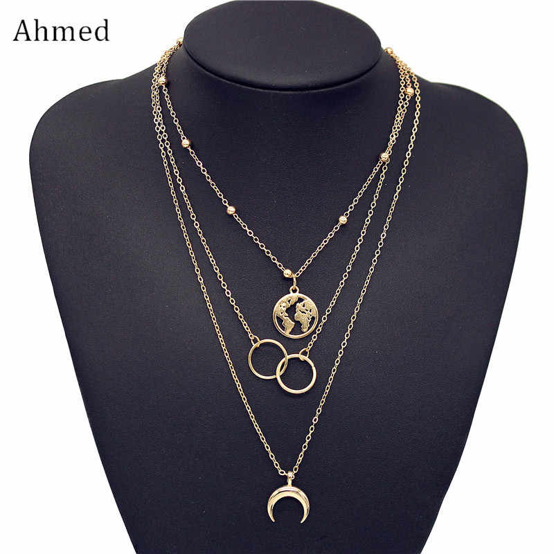 Ahmed Bohemian Vintage Trendy Multilayer Map Moon Round Pendant Necklaces for Women Fashion Gold Silver Choker Necklace Jewelry