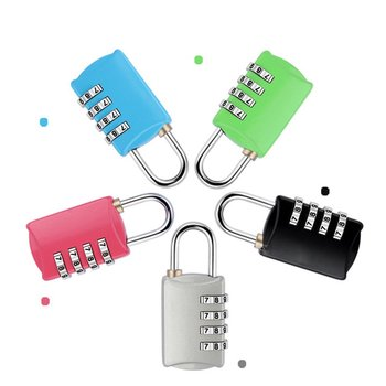 Mini Security Travel Lock 4 Dial Travel Suitcase Luggage Bag Code Lock Padlock Well For Luggage Suitcase Baggage Toolbox Gym Loc image