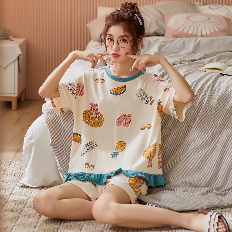 BZEL Lovely Cartoon Sleepwear For Women New Spring Femme Underwear Cotton Casual Homewear Loungewear Round Neck Pijamas Pyjamas
