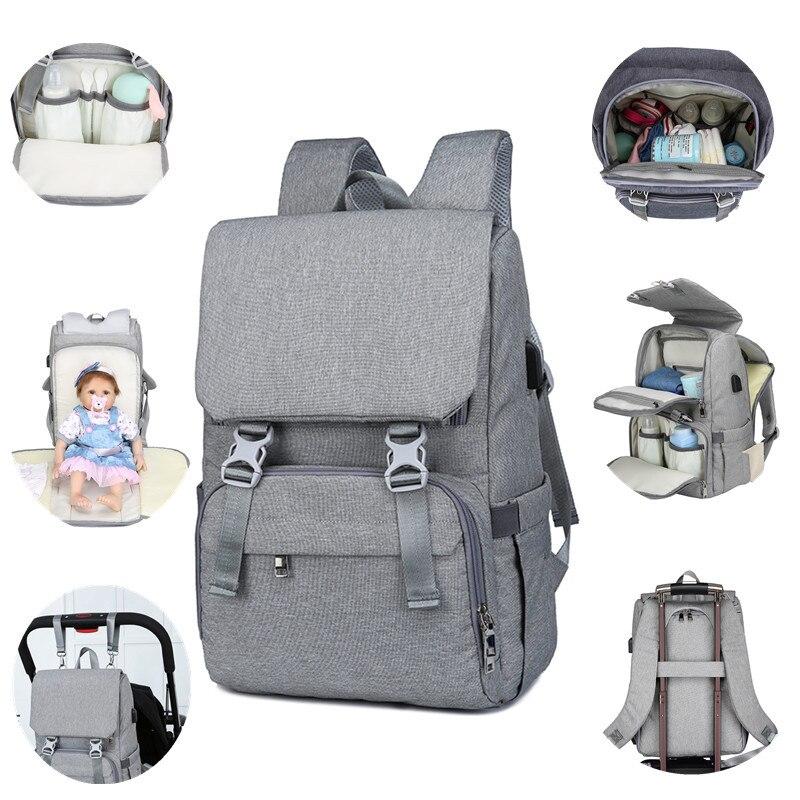 Cross Border New Style Mummy Backpack Multi-functional USB Large-Volume Diaper Bag Mommy Bag Multi-functional Large-Volume