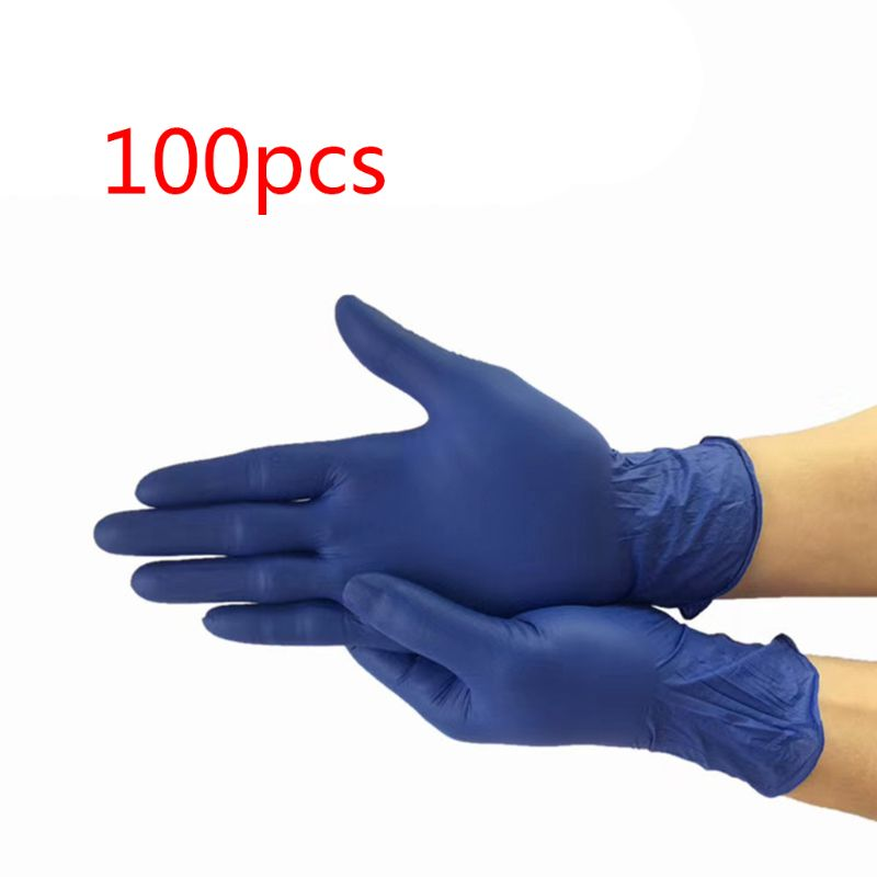 100pcs Navy Blue Washing Cleaning Gloves Waterproof Disposable Nitrile Gloves Work Safety Gloves Mittens
