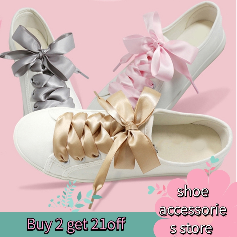 A2 1Pair 2cm Width 80CM Flat  Satin Silk Ribbon Shoelaces Polyester Shoe Laces Sneaker Sport Shoes Lace Strings
