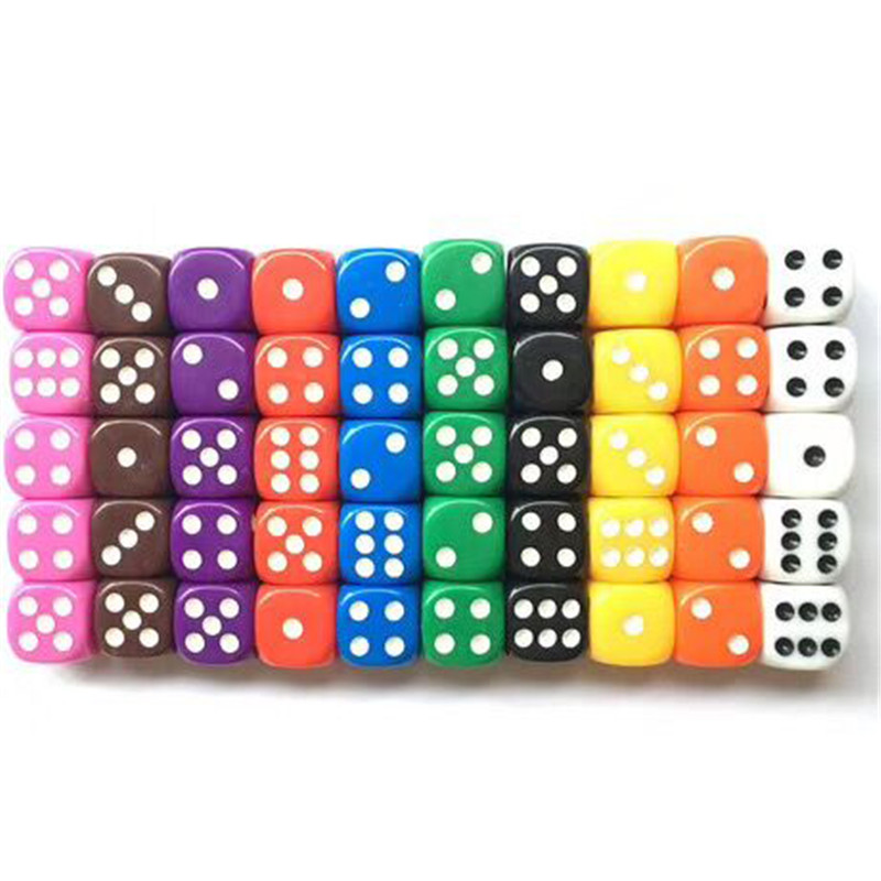 10PCS 6 Sided Dice Set 10 Different Colors 16mm Acrylic Dice For Bar Pub Club Party Board Game
