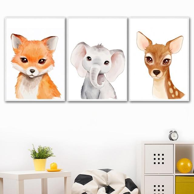 Broca cheia de diamante bordado elefante raposa coelho urso zebra tigre arte diamentre pintura nordic parede decoração do quarto bebê presente