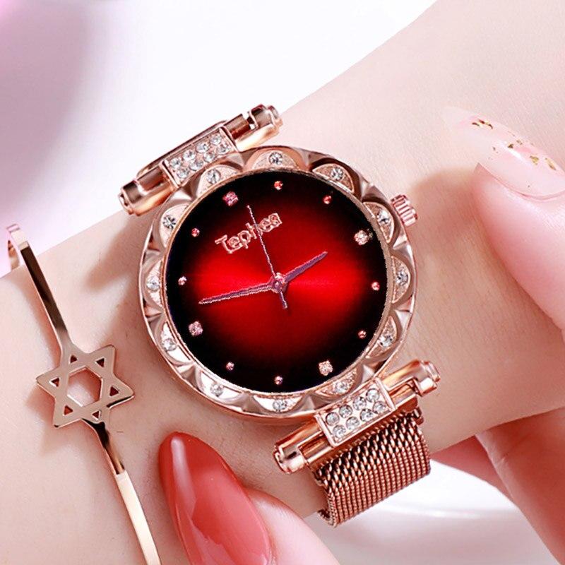 Ladies Wrist Watch For Women Gradient Luxury Diamond Rose Gold Watch Starry Sky Women Watch Ladies Quartz Wristwatch 2019 Girl