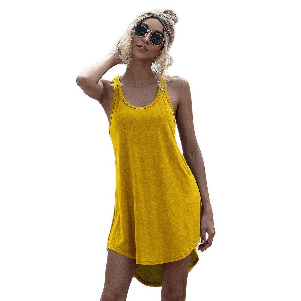 Solid Casual O neck Sleeveless Tank Dress Women Loose Off Shoulder Asymmetrical Cotton Mini Dress Summer Streetwear Plus Size
