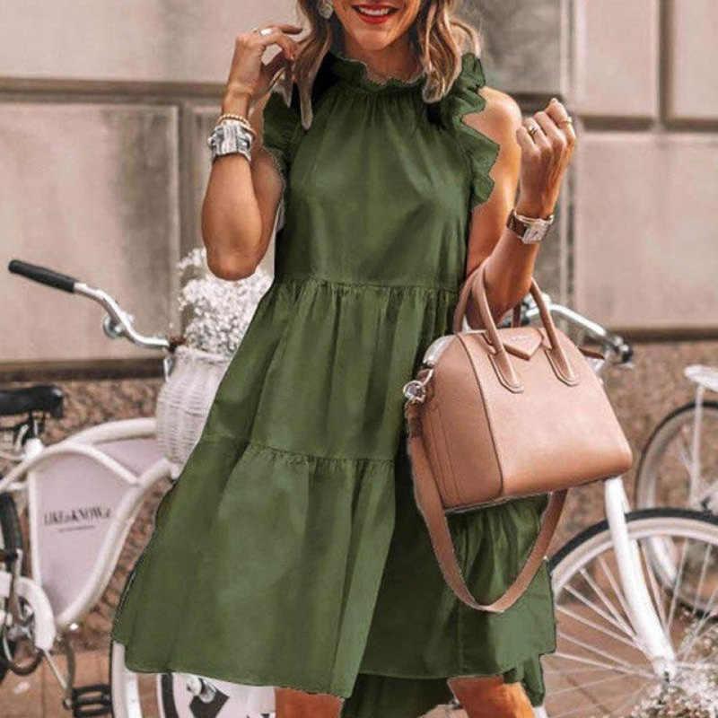 Élégant Daisy tournesol papillon sans manches robe imprimée femmes été 2XL décontracté O cou robes de soirée Vintage robe Midi Vestido