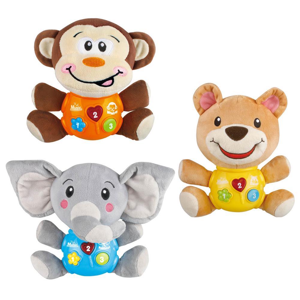 Yenidoğan bebek peluş bebek karikatür hayvan dolması Doll ses hafif müzik çocuk aydınlanma oyuncaklar çocuklar için noel hediyeleri