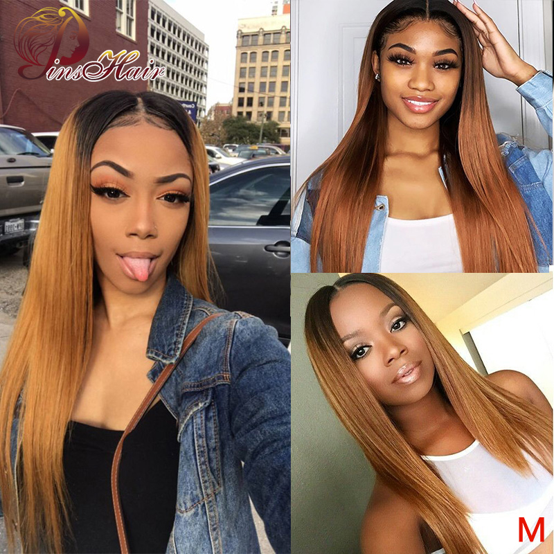 13*4 Ombre Honey Blonde Lace Front Wig Straight 1B/30 Colored Lace Front Human Hair Wig Peruvian Pinshair Non-remy For Women 150