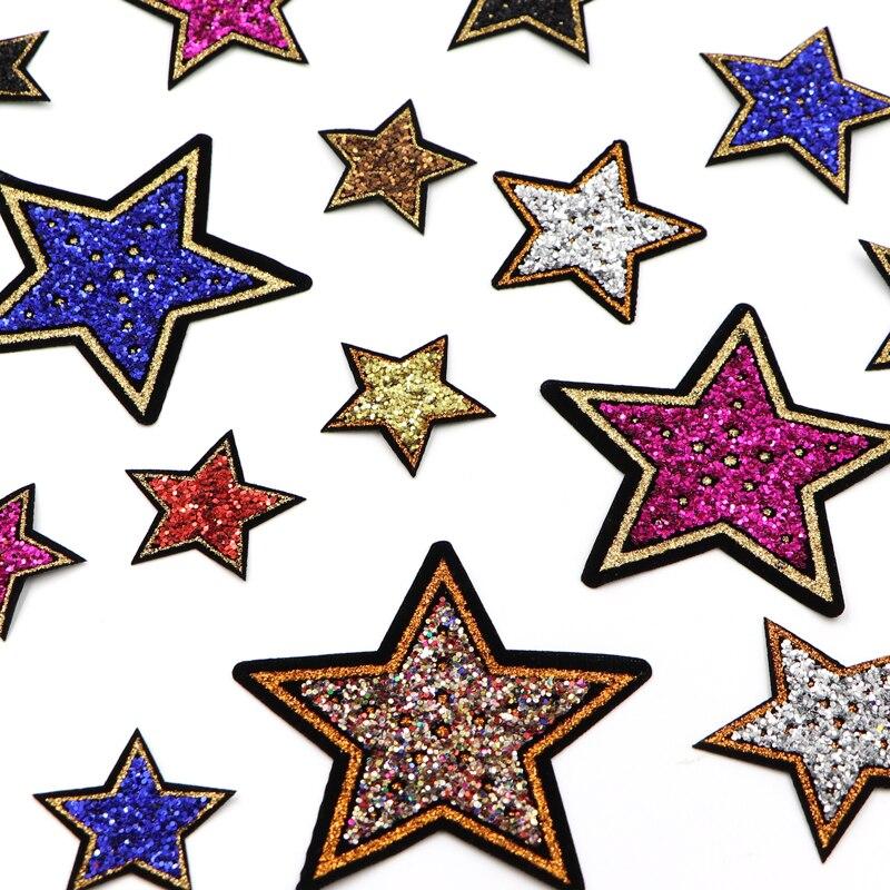 Модные разноцветные нашивки со звездами и блестками, наклейки со звездами для одежды, джинсов, Аппликации, сделай сам, пальто, брюки, нашивка...