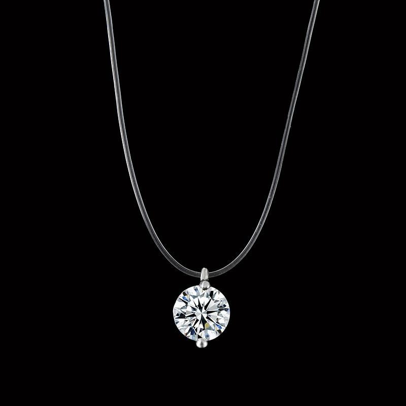 Горячая Женская прозрачная леска ожерелье Серебряный Цвет невидимая цепочка ожерелье для женщин Стразы колье-чокер