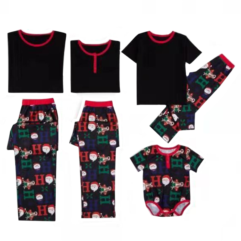 2019 Christmas Family Matching Pajamas Family Cartoon Snowman Short Sleeve Clothing Sets For Dad Mommy Kids Baby Clothes Outfits