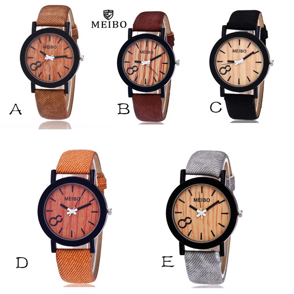 MEIBO Modeling Wooden Quartz Mens Watch Casual Wooden Color Leather Watch Women Watches Ladies Watch Watch Women