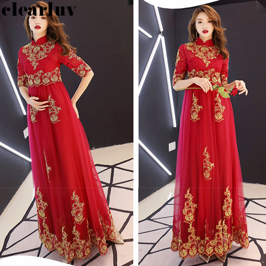 Half Sleeve Formal Dress Plus Size Stylish Lace Evening Dresses Robe De Soiree Y049 2019 Elegant Pregnant Women Party Dresses