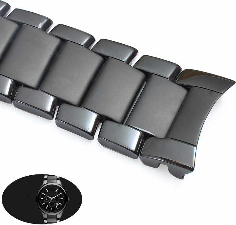 Nero di Ceramica Acciaio Inox per AR1451 AR1452 Watch Band per Armani Ar Orologi Cinturino da Polso di Marca Cinturino Curved End