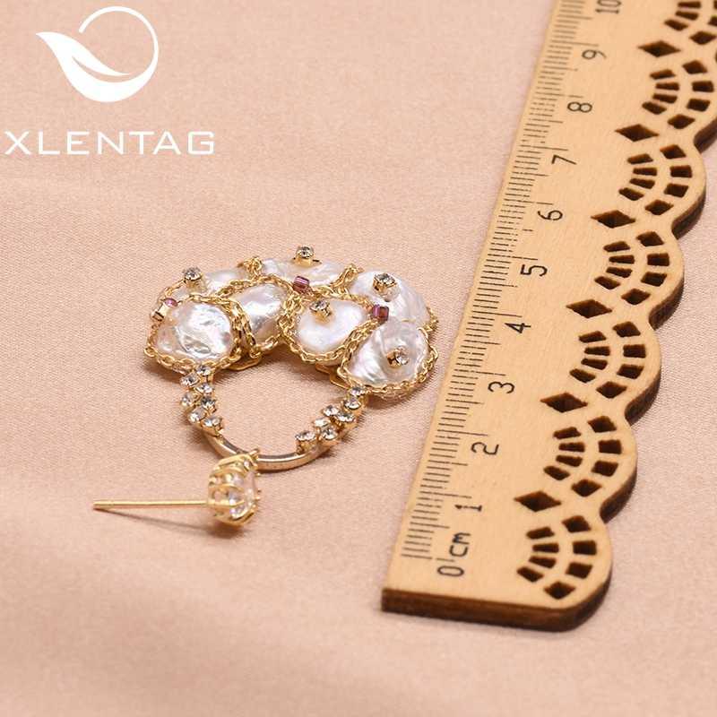 XlentAg 925 gümüş kulak Pin doğal tatlı su barok inci damla küpe kadınlar için nişan Dangle küpe mücevherat GE0324