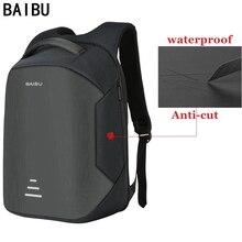 BAIBU חדש גברים 15.6 מחשב נייד תרמיל אנטי גניבה תרמיל Usb טעינה נשים בית ספר מחברת שקית אוקספורד עמיד למים נסיעות תרמיל