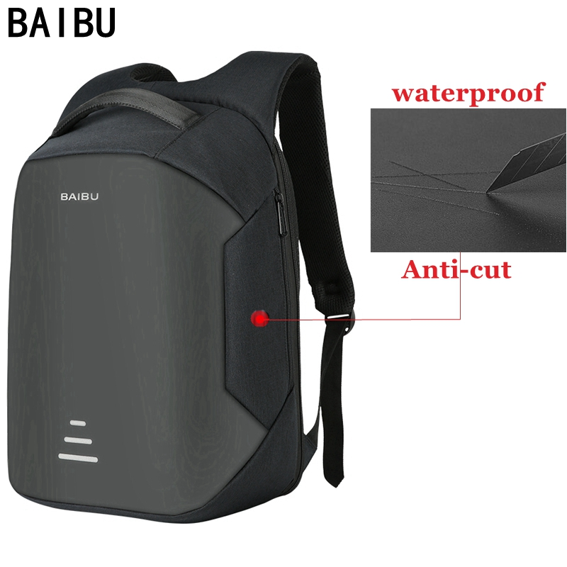 BAIBU New men 15.6 Laptop Backpack Anti Theft Backpack Usb Charging Women School Notebook Bag Oxford Waterproof Travel Backpack image