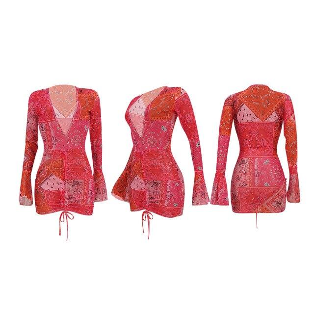 PING ZHAO Bandana Print Mesh Sheer Bodycon Dress Women Party Club Wear See Through Drawstring Long Sleeve Dresses 3