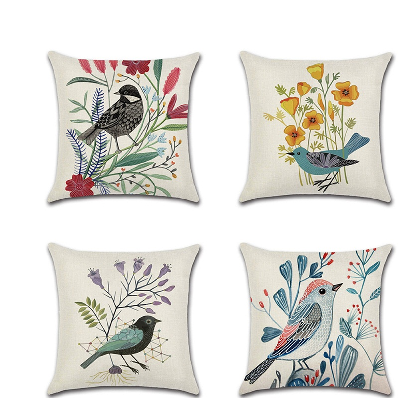 Classical Flower Bird Printed pillow cushion cover kussenhoes Spring theme Throw Pillowcase sofa home Decoration accessories
