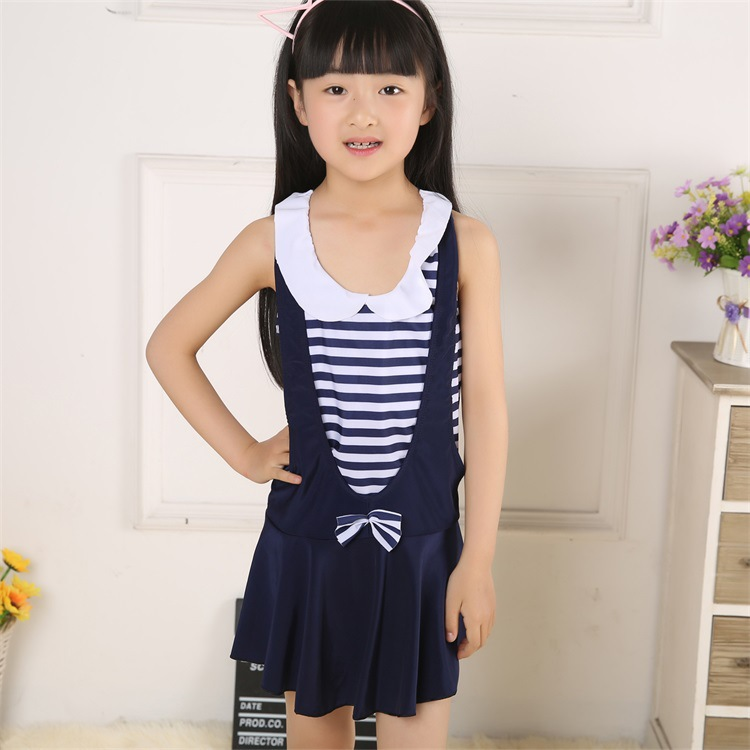 New Style KID'S Swimwear Korean-style Dress-Boxer Big Boy Navy Style Princess Students GIRL'S Swimwear