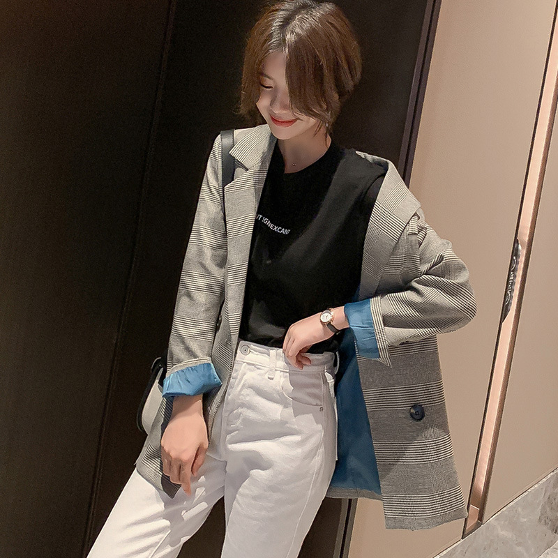 2019 Autumn Winter Korean Version New Small Suit Jacket Retro Double-breasted Plaid Long Section Loose Casual Blazer Female