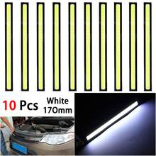 1/10 pçs universal à prova dwaterproof água luzes diurnas cob nevoeiro lâmpada estilo do carro led luz dia drl lâmpada 17cm