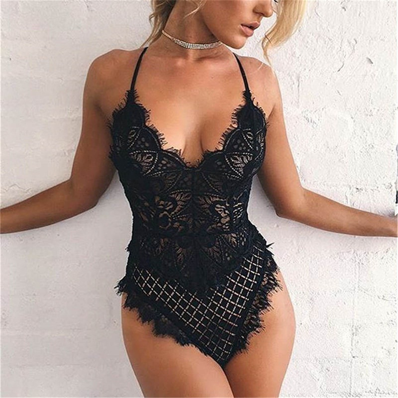 2020 Sexy Lace Bodysuit Women Bodycon Jumpsuit Summer Cut Out Rompers Club Womens Jumpsuit Body Top Overalls Feminino Playsuit