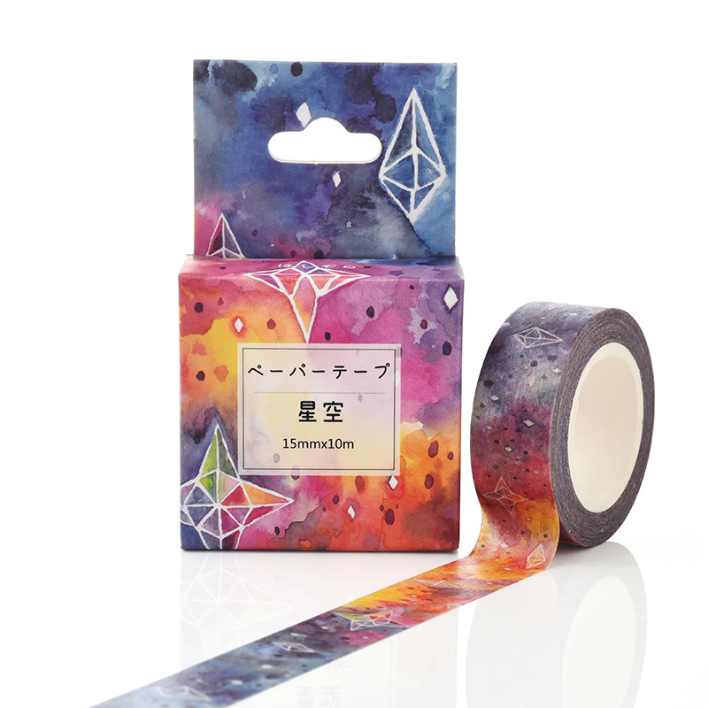 15mm*10m Box Package Beautiful Starry Sky Washi Tape Excellent Quality Colorful Paper Masking Tape DIY Decorative Tapes