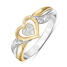 USTAR Love Heart Cubic Zirconia Rings for women fashion jewelry Gold/Silver Engagement rings Female Anel gift accessories