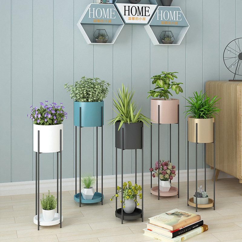 Nordic Flower Metal Stand 2-tire Metal Plant Stand Floor Shelf Flower Pot Outdoor Indoor Iron Plant Stand Metal Garden Decors
