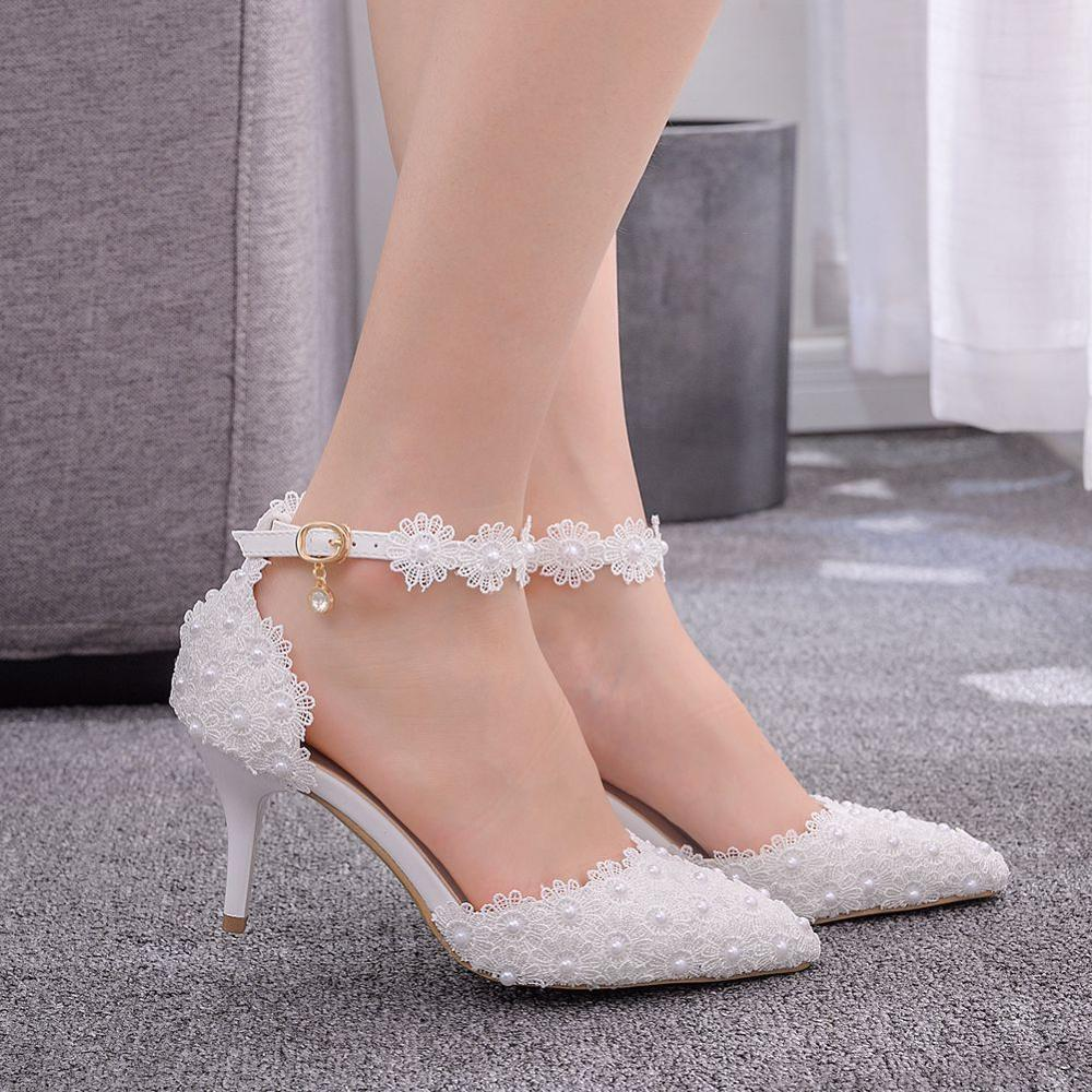 Women Sandals Wedding Shoes White Lace Flower Wristband Bridal Shoes Pointed Toe Thin Heels Satin Female Shoes