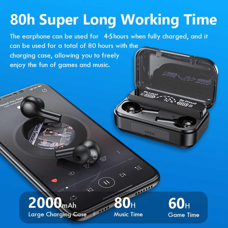 2020 Terbaru Wireless Headphone Bluetooth Earphone, Kontrol Sentuh Tws Earbud Tahan Air Permainan Olahraga Gym Headset PK T5 Mikrofon