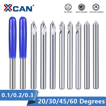 XCAN Engraving Bit 3.175mm Shank End Milling Cutter 20/30/45/60 Degrees Tip 0.1 0.2 0.3mm Carbide 3D - discount item  30% OFF Machinery & Accessories