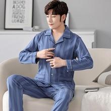 2021 весна новинка мужчины пижамы комплект тонкие свободные хлопок длинный рукав кардига домашняя одежда одежда для сна два предмет комплект удобный дышащий