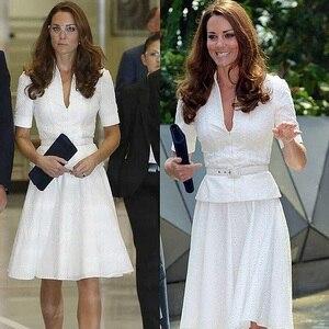 Женские вечерние платья Kate Middleton, Белые Повседневные кружевные платья до колена, лето 2020