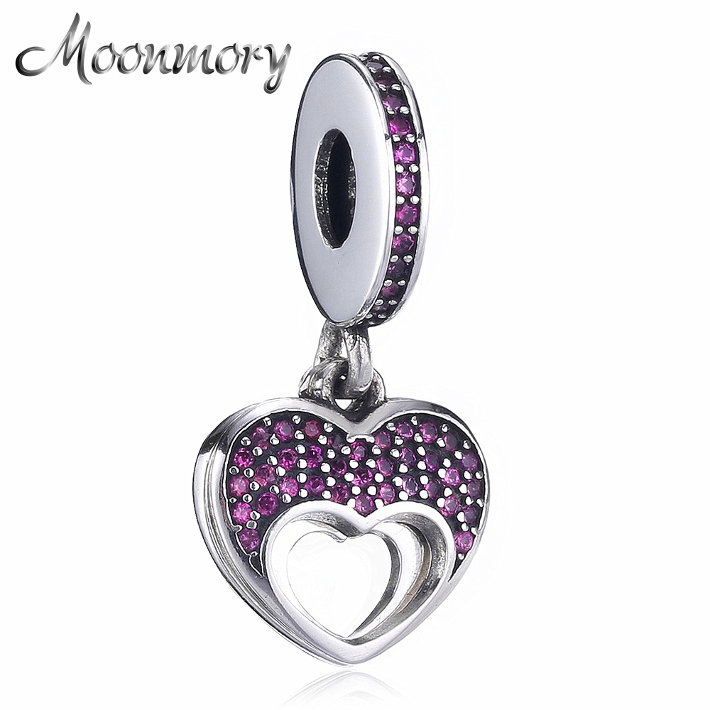 Moonmory Mother's Day Best Gift 2017 Summer Collection 925 Sterling Silver Love Heart Charms Pendant With Red Zircon DIY Jewelry