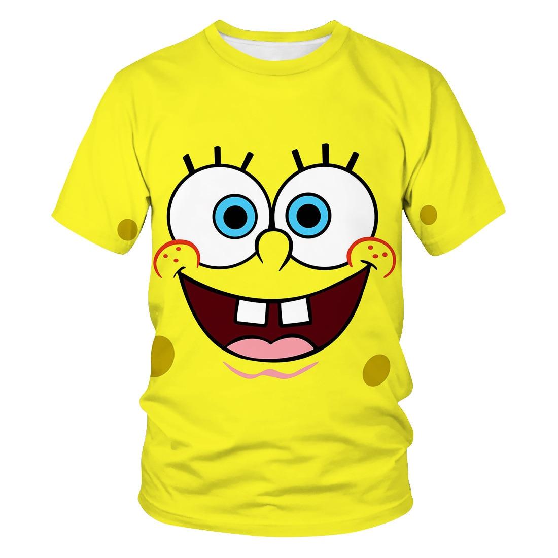 Summer New Children 3D T-shirt  Cute SpongeBob T-shirt Boys 3DT Shirt Girls 3DT-Shirt Cute Casual Top T-shirt