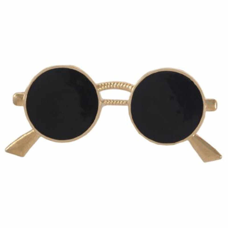 Wkoud Mini Kacamata Bros Fashion Populer Pesta Perapi Kemeja Dekorasi Alloy Pin Drop Minyak Emas Perak Kacamata Pin untuk Pria wanita