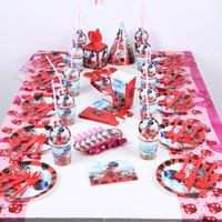 214Pcs/Lot Ladybug Theme Child Birthday Party Toy Paper Cup Plate Napkin Flag Event Party Wedding Gift Candy Box Party Supplies