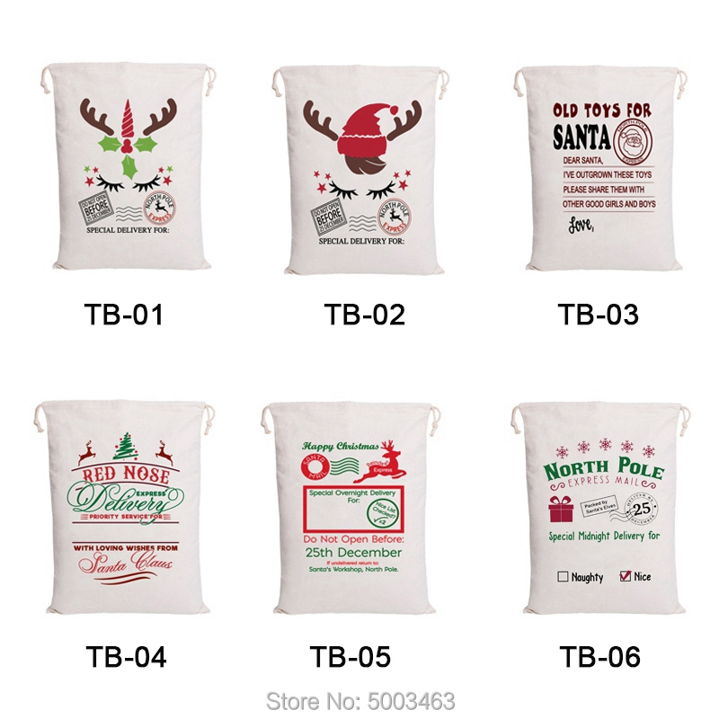Wholesale Christmas Bag 50pcs/lot Santa Sacks Drawstring Party Canvas Bag Santa Claus Kids Bags Hot Sale Christmas Gift