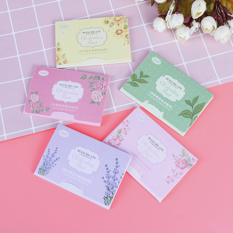 100Pcs Face Oil Absorbing Paper Plant Fibres Breathable Blotting Handkerchief Korea Fragrant Tissue Paper Color Random Delivery image
