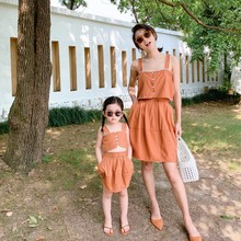 Mothers and grils  style 2 pcs set crop top+skirt fashion cotton 2020 summer