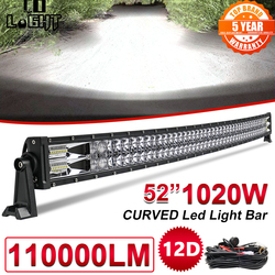 CO LIGHT 22 32 42 52 inch Curved Led Light Bar 420W 620W 820W 1020W COMBO Dual Row Driving Offroad Car Tractor Truck 4x4 SUV ATV