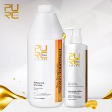 Purc 2PCS 1000ml Smoothing Brazilian Keratin Hair Treatment Straightening Curly Hair Care Products 300ml Purifying Shampoo Set